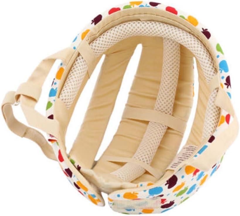 Xizfday Casque S/écurit/é B/éb/é Casque de Protection Anti Choc S/écurit/é Domestique R/églable Coton /Éponge Motif Cartoon pour Enfant 6 Mois 5 Ans Beige