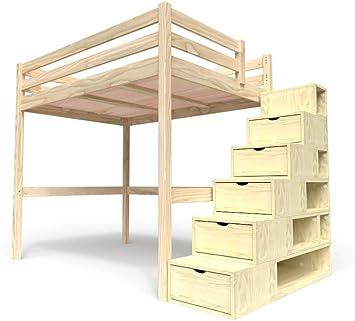 Abc Meubles Lit Mezzanine Sylvia Avec Escalier Cube Bois Cube Brut 140x200 Amazon Fr Cuisine Maison