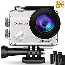 Crosstour 4K 16MP Action Cam WIFI Subacquea Ultra HD Sport Action Camera 170° Grandangolare Telecomando Due 1050mAh Batterie Custodia Impermeabile e 20 Kit di Accessori