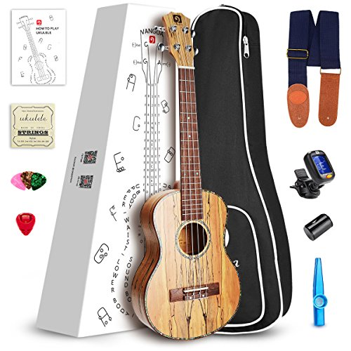 "Vangoa - UK-23SM Concert 23"" inches Acoustic Ukulele in Splated Maple with Nylon Strap, Pick, Pick Container, Carry Bag, Tuner, KAZOO, Backup Strings, Finger shaker"