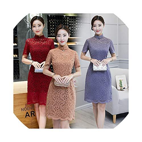 (HappyWe New Middle and Long Section Double Lace Cheongsam Dress Slim and Elegant Elegant Cheongsam Dress,2076 Gray,M)