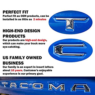 AUTO PRO ACCESSORIES Domed Tailgate Letters Inserts USA FLAG fits 2016-2020 Tacoma Models… (Chrome): Automotive