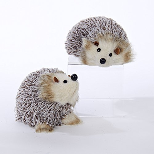 Christmas Tablescape Decor - Brown Hedgehog Ornaments Set of 2 by Kurt Adler