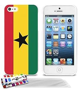 Carcasa Flexible Ultra-Slim APPLE IPHONE 5 de exclusivo motivo [Ghana Bandera] [Blanca] de MUZZANO + 3 Pelliculas de Pantalla UltraClear + ESTILETE y PAÑO MUZZANO® REGALADOS - La Protección Antigolpes ULTIMA, ELEGANTE Y DURADERA para su APPLE IPHONE 5