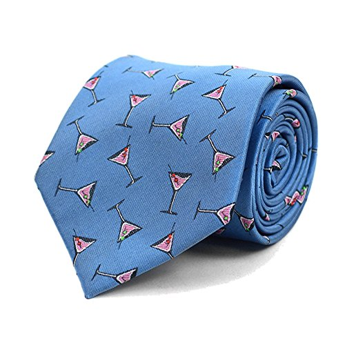Men's Martini & Olives Cocktail Party Necktie Tie Neckwear (Blue) (Martini Dot)