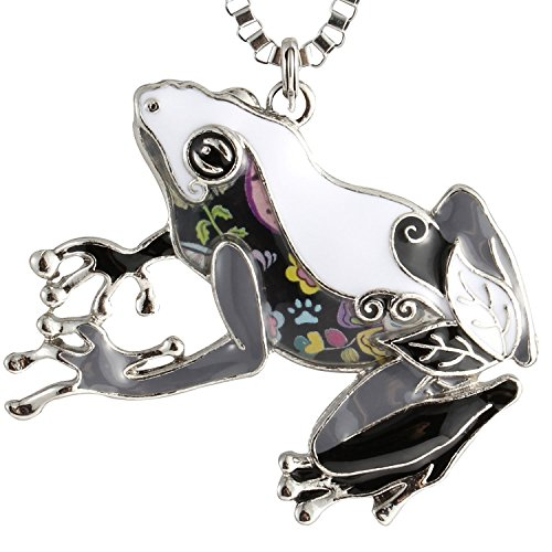 Enamel Frog Charm - Luckeyui Large Frog Necklace Pendant for Women Girls Black Enamel Tree Frog Charm Jewelry