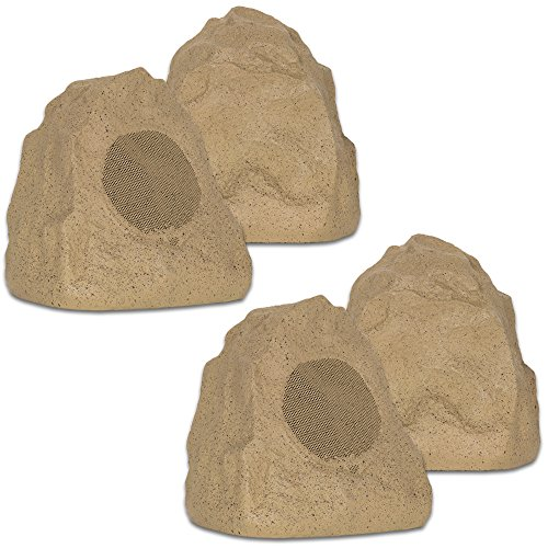 Theater Solutions 4R4S Outdoor Weatherproof Sandstone Rock Speakers 4 Piece Set 1000 Watts by Theater Solutions