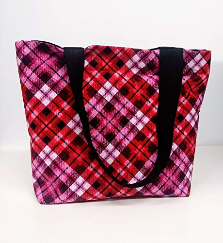 Pink and Red Plaid Beach Bag or Tote Bag with Pocket ()