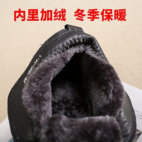 Y De Los Terciopelo De Un Soft KHSKX Antideslizante Ancianos Invierno Ancianos Botas Cuero Black Mamá Zapatos Bottom black 40 Abuela Cálido De Shoes38 0OwEpf