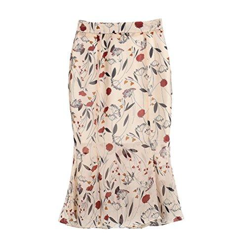 Oudan Femme Jupe Crayon Taille Haute Mi Longue Moulante Evase Motif  Petites Fleurs Beige