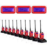 10-Pcs NKTECH UV-5R Plus VHF UHF Tri-Power Hi/Mid/Low 8W 4W 1W Dual Band 136-174/400-520MHz Two Way Radio Ham Transceiver Walkie Talkie Red 7.4V Li-ion Batteries + 2X Speaker Mic