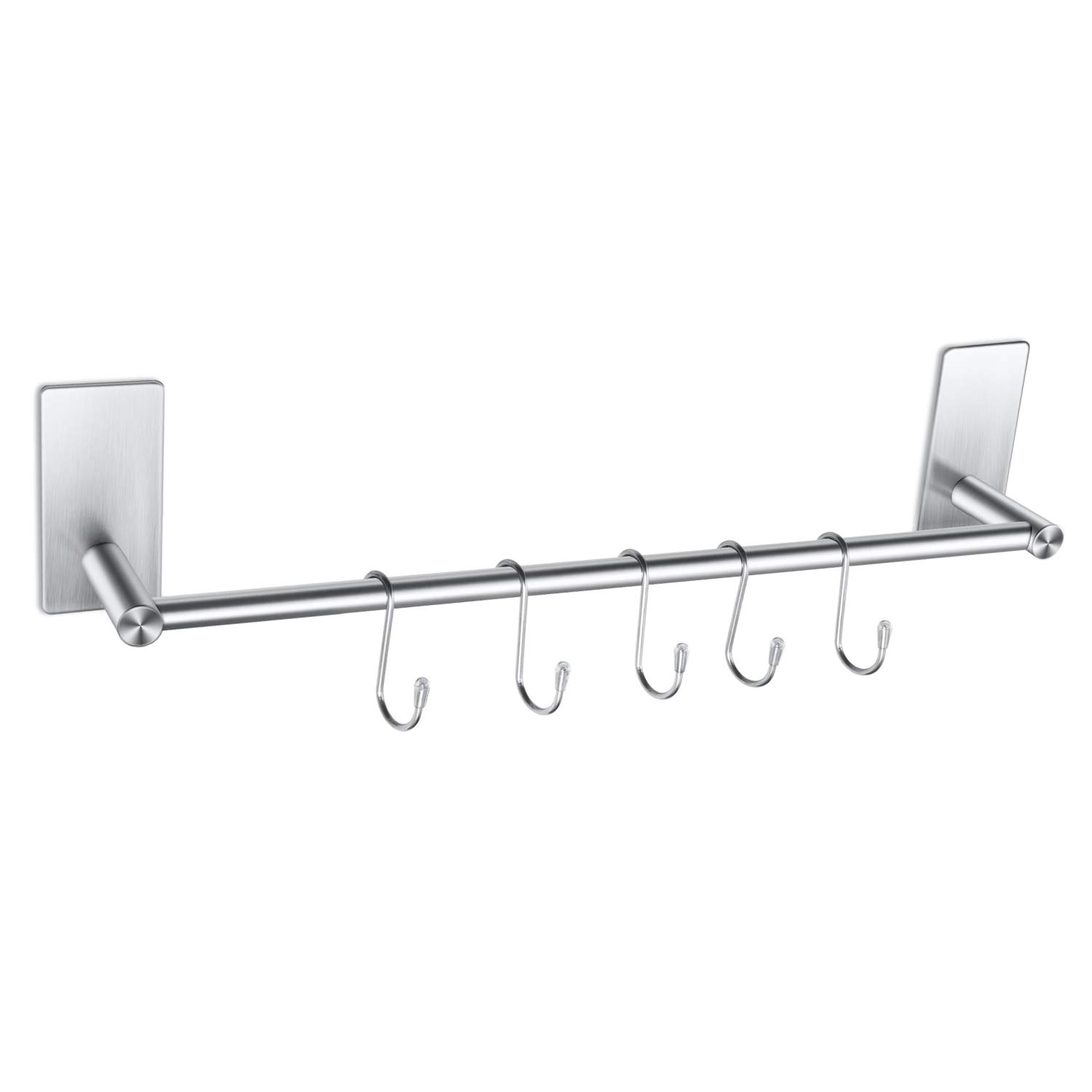 HBlife 3M Self Adhesive Towel Rail Bar with 5 Hooks, Brushed Finish SUS 304 Stainless Steel Towel Holder Hanger for Kitchen Bathrooms Lavatory Closets