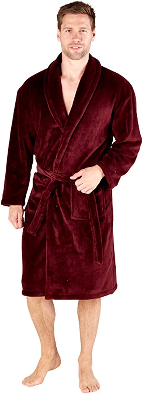 Hari Deals Mens Plain Coral Fleece Dressing Gown Robes