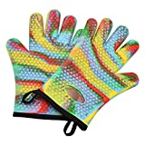LifBetter Silicone Cooking Gloves, Heat Resistant Oven BBQ Grilling Gloves Mitts with Internal Protective Cotton Layer and Non Slip Grip (Multi Color)