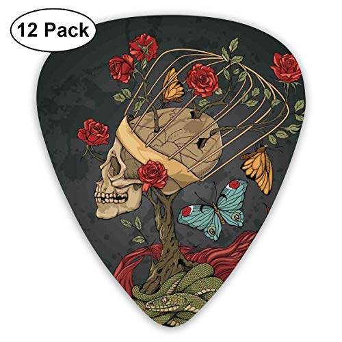 Guitar Picks 12-Pack,Evil Mexican Sugar Skeleton With Kitsch Bush Of Roses Snake And Butterfly Artwork