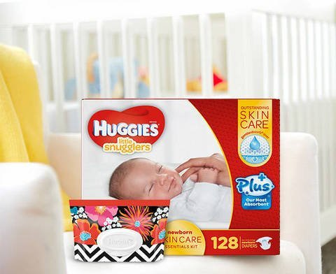 Huggies Little Snugglers Plus Diapers New Born Skin Care Essentials Kit - 128ct Diapers & 32ct Natural Care Plus Baby Wipes (Diapering Essentials Kit)