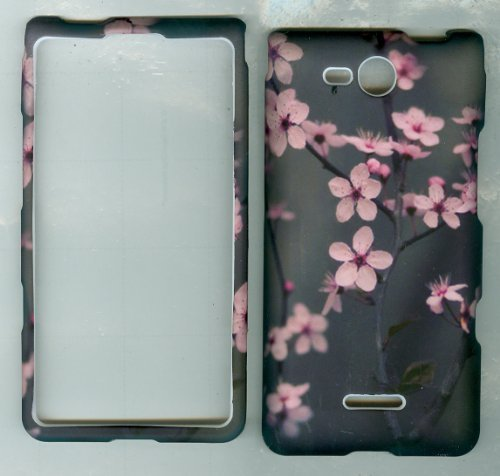 Grey Pink Flower Faceplate Protector Hard Case for Verizon Prepaid Cell Phone Lg Optimus Exceed Vs840pp