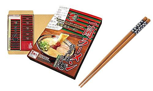 (Japanese Popular Classic Tonkotsu Ramen ''ICHIRAN'' by M-Japan, Instant Straight Ramen Noodles 5 Servings with M-Japan Original Cherry Blossoms ''Sakura'' Chopsticks (Japan Import))