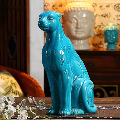 Statues Figurines Sculptures,Chinaware Porcelain Panther Figurine Handmade Ceramics Leopard Statue Wild Life Decoration Art and Craft Gift Ornament ()