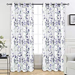 "DriftAway Blossom Abstract Floral Botanic Thermal Room Darkening Grommet Unlined Window Curtains, Set of Two Panels, Each Size 52""x84"" (Lavender)"