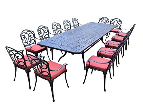 Oakland Living 15 Piece Berkley Aluminum Dining Set, Aged Black
