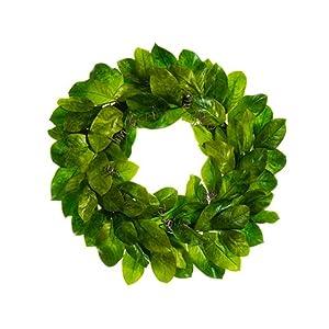 """Arcadia Silk Plantation 30"""" Magnolia Leaf Wreath Green (Pack of 2) 87"""