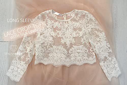 Amazon.com: Belle Lace Crop Top Long Sleeves White Lace