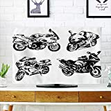Jiahonghome Cord Cover for Wall Mounted tv Cartoon Motorbike Speed Race Exciting Sport Hobby Latest Model Transportation Print Orange Black Cover Mounted tv W19 x H30 INCH/TV 32''