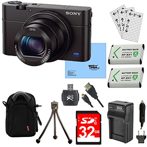 Sony DSC-RX100M III Cyber-shot Digital Still Camera Bundle with 32GB Card, 2 Spare Batteries, Rapid AC/DC Charger, SD Card Reader, Case, LCD Screen Protectors, and Table top - Camera Still Shot Cyber