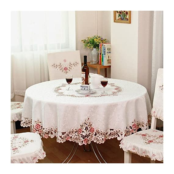 QXFSMILE Embroidered Floral Fabric Classy Hand-cut Work Round Tablecloth White Round 70 Inch - This tablecloth is very well constructed and durable with classy look The color was vibrant and the quality was great Machine wash cold, tumble dry low, no bleach. - tablecloths, kitchen-dining-room-table-linens, kitchen-dining-room - 51qyOiF5%2B8L. SS570  -