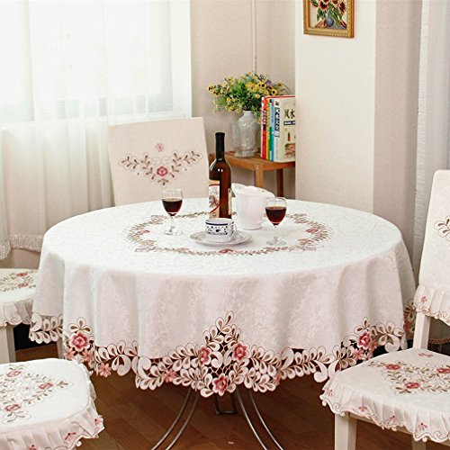 QXFSMILE Embroidered Floral Fabric Classy Hand-cut Work Round Tablecloth White Round 70 Inch ()