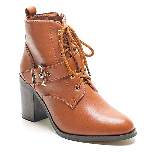 New dorado bloque de traje de neopreno para mujer de tacones de Zip Up para mujer Botas de cierre magnético de tobilleras con peso Chelsea zapatos de cadena de talla UK - Tan Lace Up