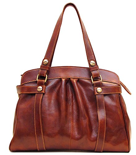 Floto Womens [Personalized Initials Embossing] Milano Shoulder Bag in Brown by Floto