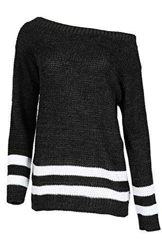 Oops Outlet Femmes Baggy Tricot Pour Femmes Coupe Oversize Tricot RayéÉpaules Apparentes Bardot Top - Charbon Marne, Grande taille (EU 48/50)
