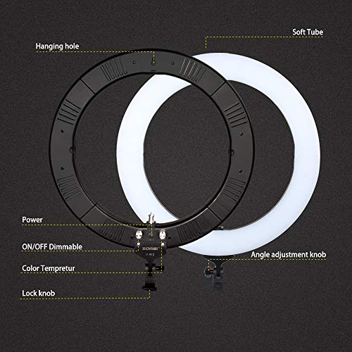 ZOMEi 18'' Dimmable LED Ring Light for Makeup Selfie Photographic Ring Light by ZOMEi (Image #5)