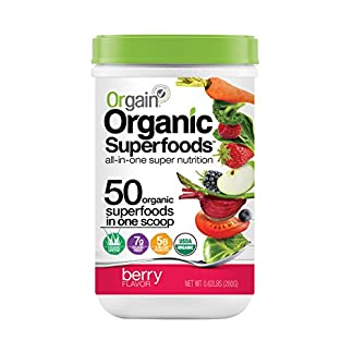 Organic Superfoods Powder by Orgain, 2 Flavors, 0.62 lb Orgain's Organic Superfoods Powder has 50 Organic Superfoods in Every Scoop, including Organic Greens and Organic Fruits & Veggies, 5 Billion Probiotics, 7g Organic Fiber and no sugar added!