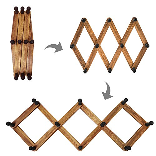 MyGift 10 Hook Torched Wood Wall Mounted Expandable Accordion Peg Coat Rack Hanger by MyGift (Image #3)
