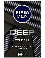 NIVEA MEN DEEP After Shave Lotion, Antibacterial Black Carbon, Woody Scent, 100ml
