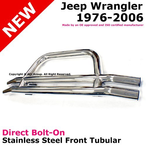 CJ YJ TJ Jeep Wrangler Front Tubular Stainless Steel Brush Guard