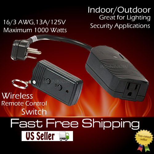 """WennoW """"UL Listed RF Wireless Power AC Switch outdoor out..."""