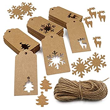 150 Pcs Christmas Gift Tags,Xmas Tree Snowflake Reindeer Brown Kraft Paper Gift Wrap Tags with Jute String