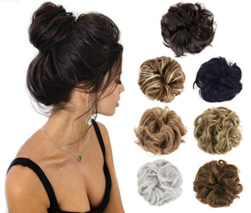 Felendy Hair Bun Extension Messy Donut Chignons Wedding Hairpiece Thick Curly Wavy Hair Updo for Women Lady Girl ()