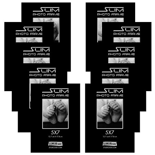 Studio 500, The Original Slim Photo Frame, Black, 12-Pack, in Various Sizes (12, 5x7)
