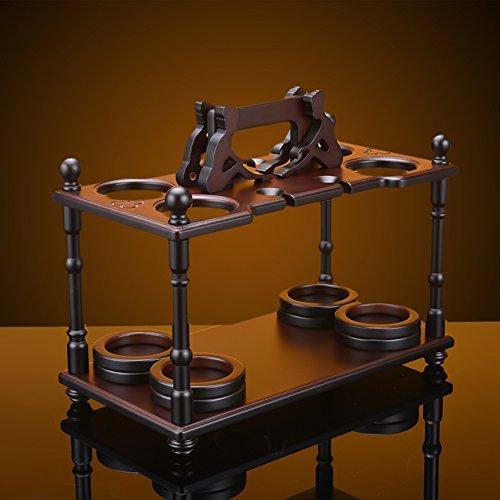 Wooden wine glass holder,European wine cup rack stemware glass storage organizer freestanding wine cup display stand-A L17.7W9.5H14inch(452436cm) by bestwineholder