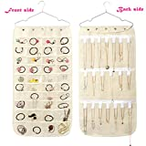 Alimitopia Hanging Closet Bag Dual-Sided Jewelry Organizer Pouch Storage Pockets(Off-White,40pcs PE Pocket 20pcs Hanging Hook&Loop)