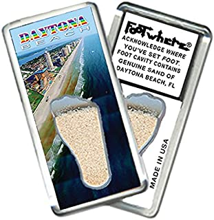"""product image for Daytona Beach""""FootWhere"""" Magnet (DY202-Oceanfront). Authentic destination souvenir acknowledging where you've set foot. Genuine soil of featured location encased inside foot cavity. Made in USA"""