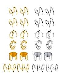Finrezio 12Pairs Stainless Steel Ear Cuff Cartilage Earrings for Women Men Fake Clips On Earrings Non Piercing