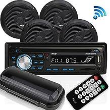 Pyle Bluetooth Marine Audio Stereo Kit [Radio Receiver & Waterproof Speakers] Hands-Free Talking, CD Player, MP3/USB/SD Readers, AM/FM Radio, (4) 6.5'' Speakers (PLCDBT95MRB)