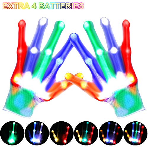 LED Gloves - Light Up Gloves with 5 Colors 6 Modes, LED Gloves for Teens, Christmas, Rave, Birthday, Halloween, Party Supply, Extra Replacement Batteries - White