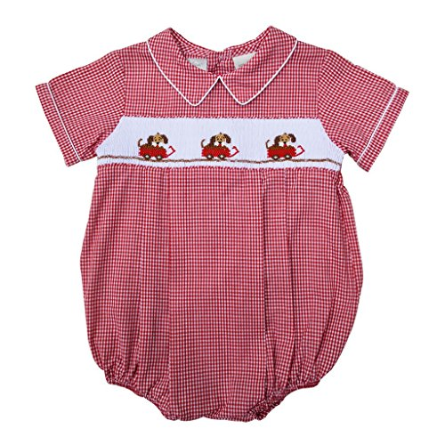 Babys Red Wagon - Carriage Boutique Baby Boys Hand Smocked Classic Creeper - Red Dogs in Wagon, 9M